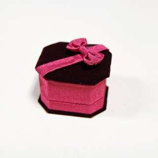 絨布首飾盒  求婚戒指盒 桃紅