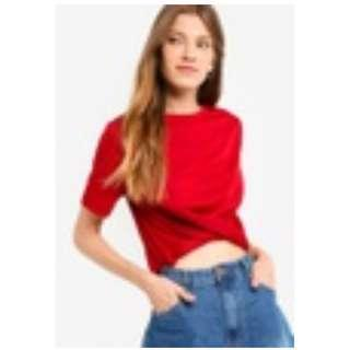 RED TWISTED KNOT CROP TOP