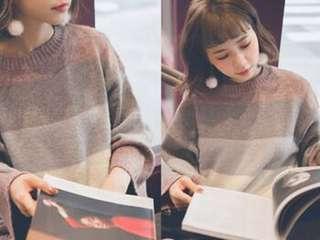 圓領寬條紋拼色針織毛衣