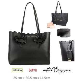6778f5a46a41 READY STOCK authentic new Miu Miu Tote bag grain calf leather black flower  5BG054 black