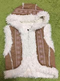 民族風 精緻刺繡外麂皮內溫暖毛毛背心