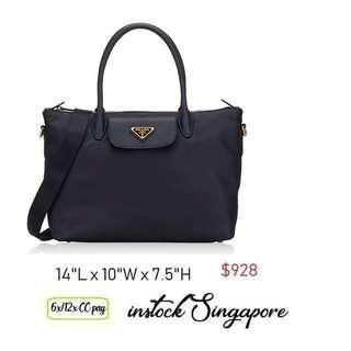 1a448a6388 READY STOCK authentic new Prada 1BA106 Tessuto Nylon Saffiano Leather Bag  with detachable strap bluette