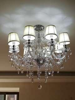 🚚 Crystal chandelier with lampshade