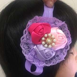 Brand new USA Baby kids girl flower large elegant hair band 頭飾髮飾橡筋