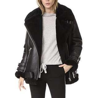 🚚 Acne studios 全新未穿皮夾克 皮外套 全羊皮 羔羊 皮毛一體 尺寸:32(xs) 胸寬55 衣長70