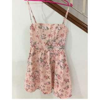 Floral pink sweet dress (S size)