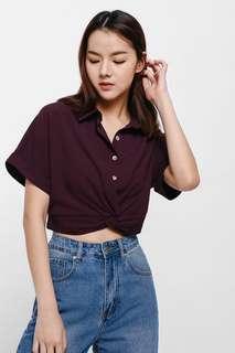 🚚 LB Betlyn Knot Waist Crop Shirt in XS