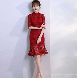 紅色 新娘 中式 旗袍裙 敬酒服 蕾絲 S碼