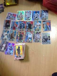 Star Wars force attax rare cards with stack of normal cards