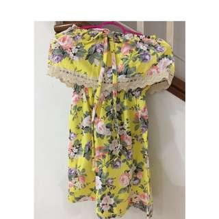 Floral yellow tube-top beach dress (Free size)