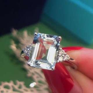 2克拉海藍寶戒指 淺藍色清澈透明!極淨完美無瑕!18k金鑽石 13號戒圍可改。