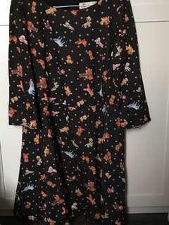 日本製 Franche lippee 黑色 可愛 動物 連身裙 one piece