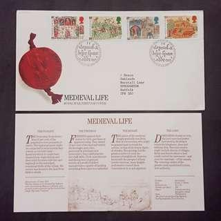 British First Day Cover- Medieval Life