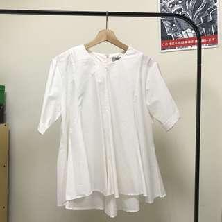 圓領娃娃白襯衫