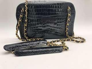 Chanel vintage camera bag in Crocodile black leather