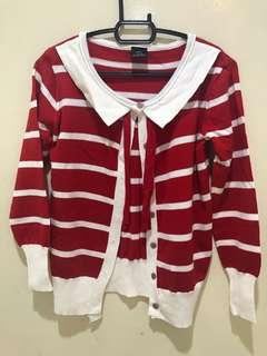 Red and White Stripe Cardigan