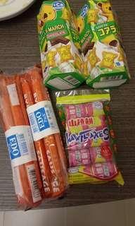 零食—堆 $15 樂天熊仔餅 edo 腸仔 山楂餅