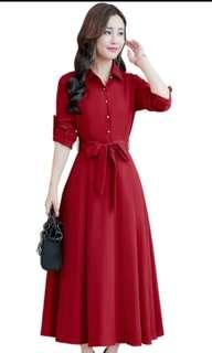 Flared Red Dress