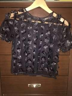 Sheer black top with mini 3D flowers