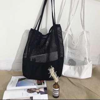 🚚 White Netted Tote Bag