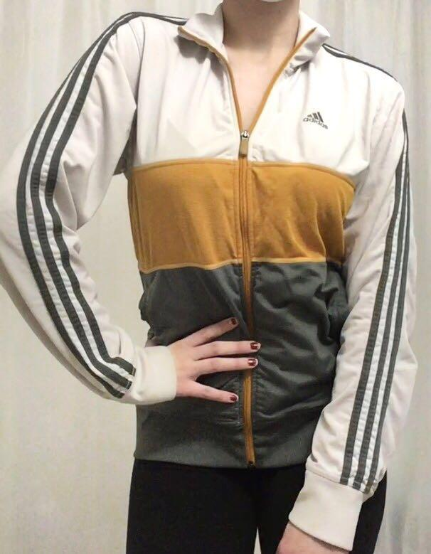 Adidas White Grey Mustard Yellow Track Jacket Sports Exercise