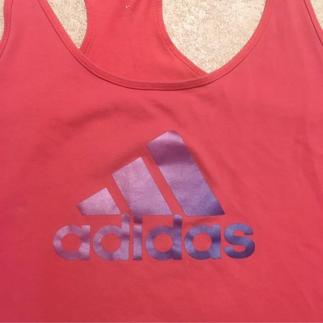 Adidas Women's Coral and Purple Ombré Exercise Top Racer Back Tank Size Large
