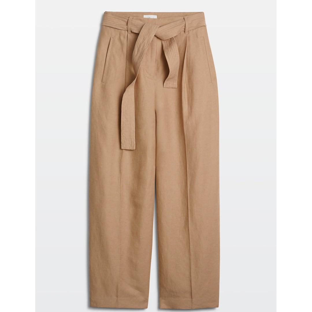 Aritzia Wilfred Cauchy Linen Pants 00 (or XXS) in Light Brulee (camel)