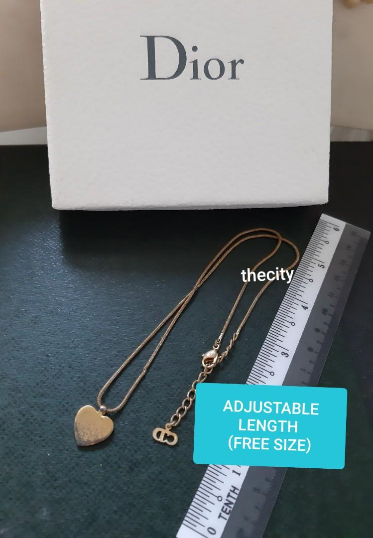 AUTHENTIC DIOR HEART LOGO PENDANT NECKLACE,  GOLD COLOUR - ADJUSTABLE LENGTH (FREE SIZE) - (BOUGHT AROUND RM 2000+) - RM 99 ONLY
