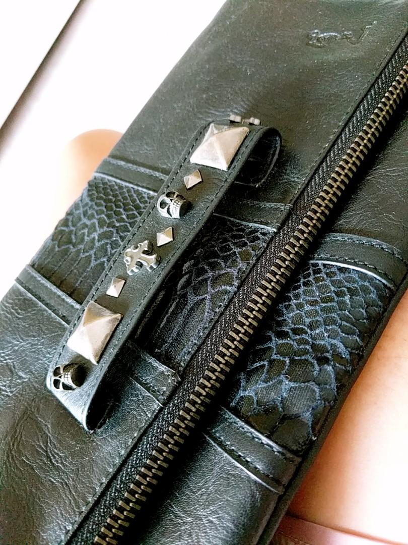 Black Emo Vintage Leather Clutch with Dark Silver Embellishments on Handle