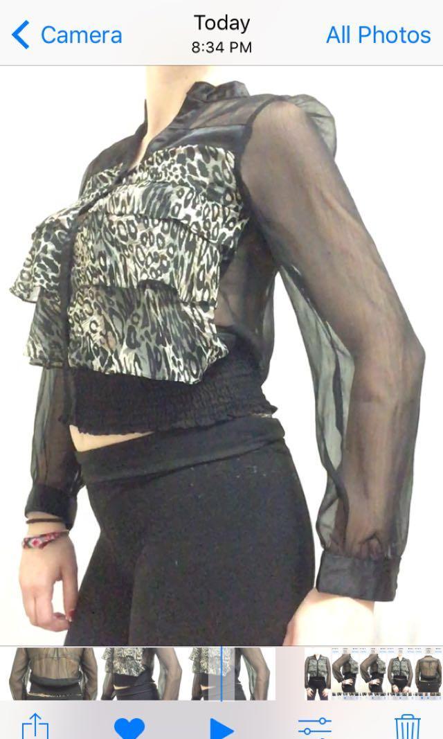 Black Leopard Animal Print Button Up Blouse Sheer Mesh Size Medium Never Worn
