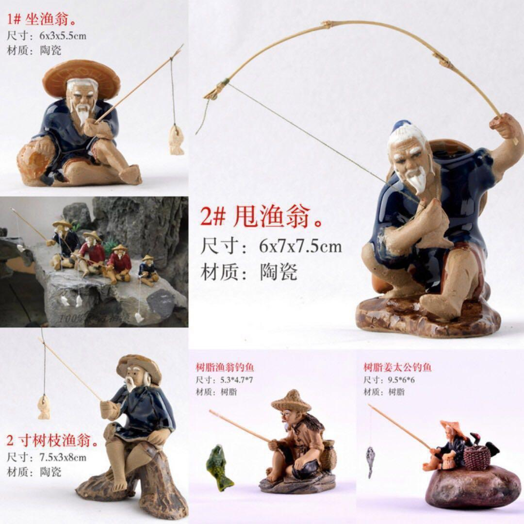 Bonsai Accessories Glazed Fishing Mudman Figurine Aquarium Decoration Gardening On Carousell