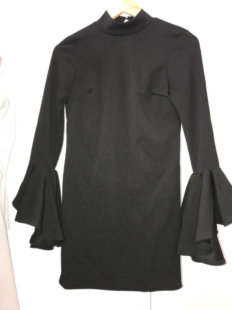 BOOHOO Black Flute / Bell Long Sleeve High Neck Dress LBD