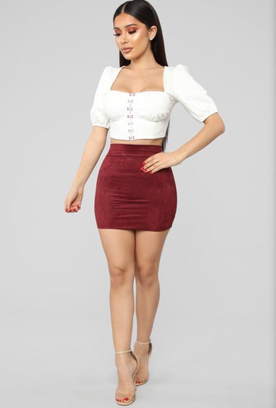 Fashion Nova Melanie Hip Faux Suede Mini Skirt Burgundy