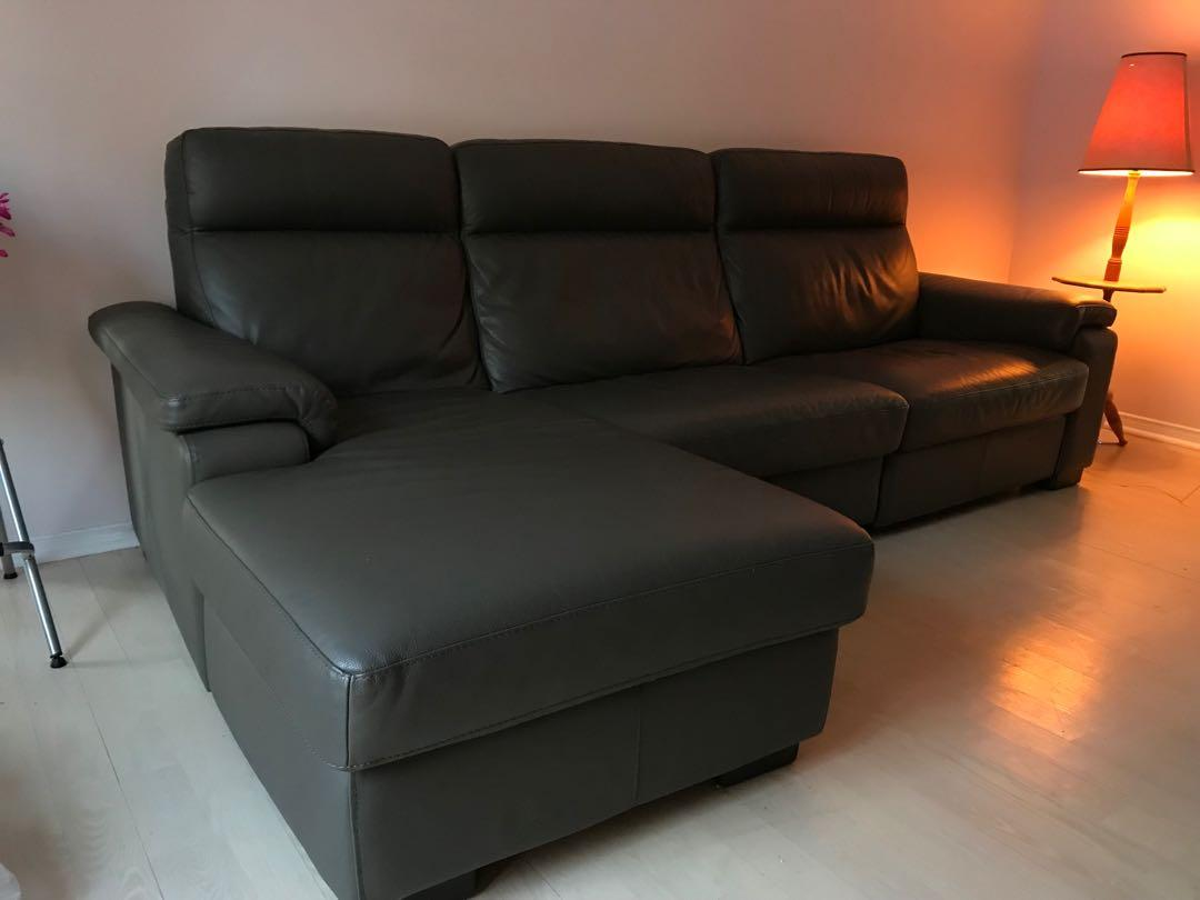Genuine Italy import leather couch with recliner and chaise