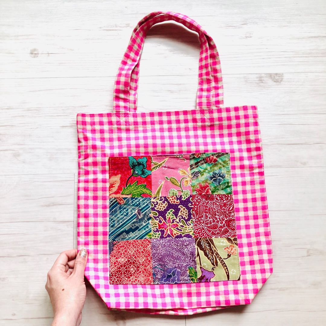 81ceabbf05f173 Handmade in Singapore Batik Patchwork Shopping Bag, Women's Fashion ...