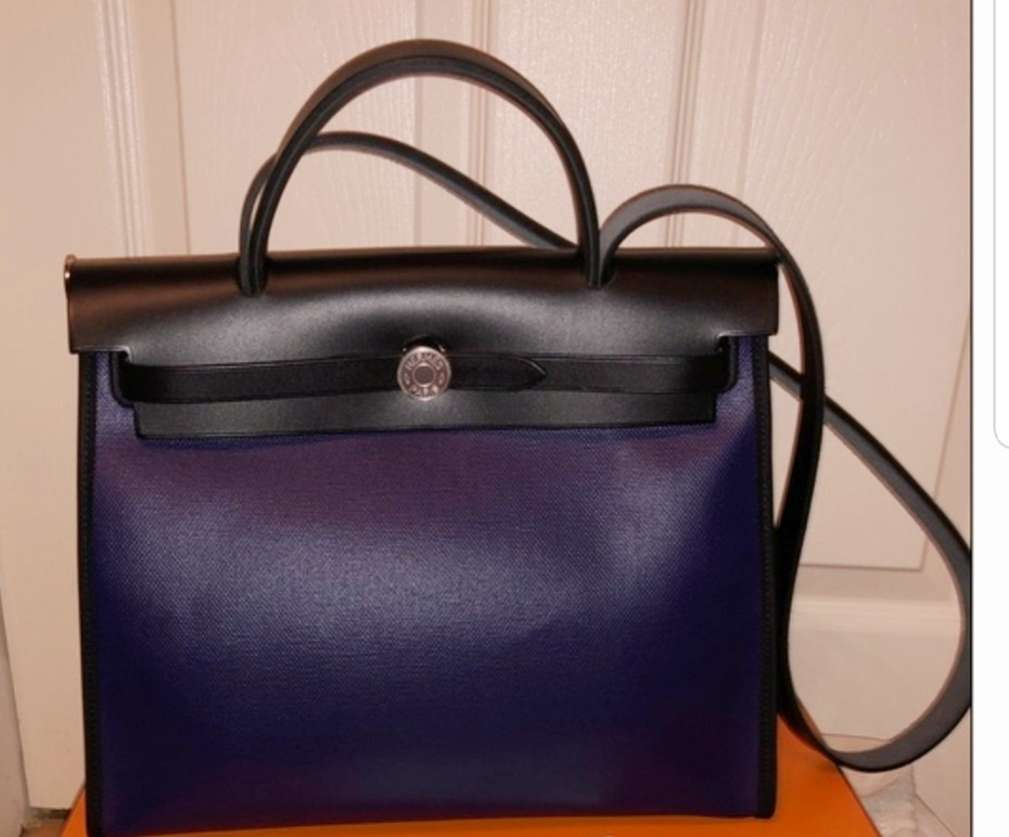 fdf4402d459c Price Reduced! Hermes Herbag 31 pm BNIB New Coated Canvas Rare Blue ...