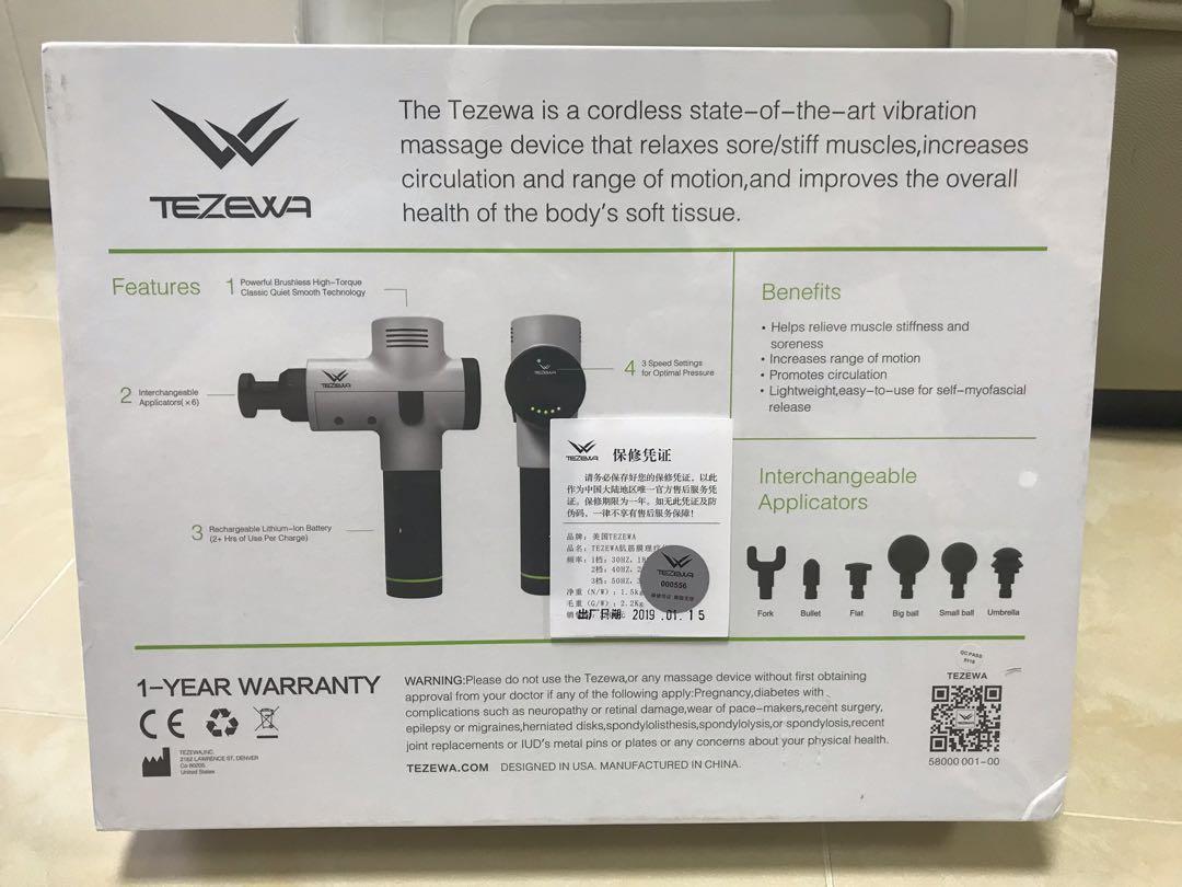 hypervolt 平民版 美國進口TEZEWA massage device按摩槍(跟機6個頭)