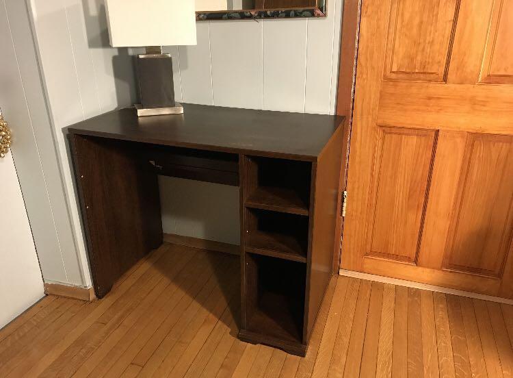 IKEA Wooden Desk w/ 3 Built-In Shelves For Sale
