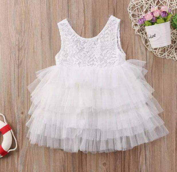 becc67e09 ⭐️Instock⭐ White Layered Tulle Dress, Babies & Kids, Girls ...