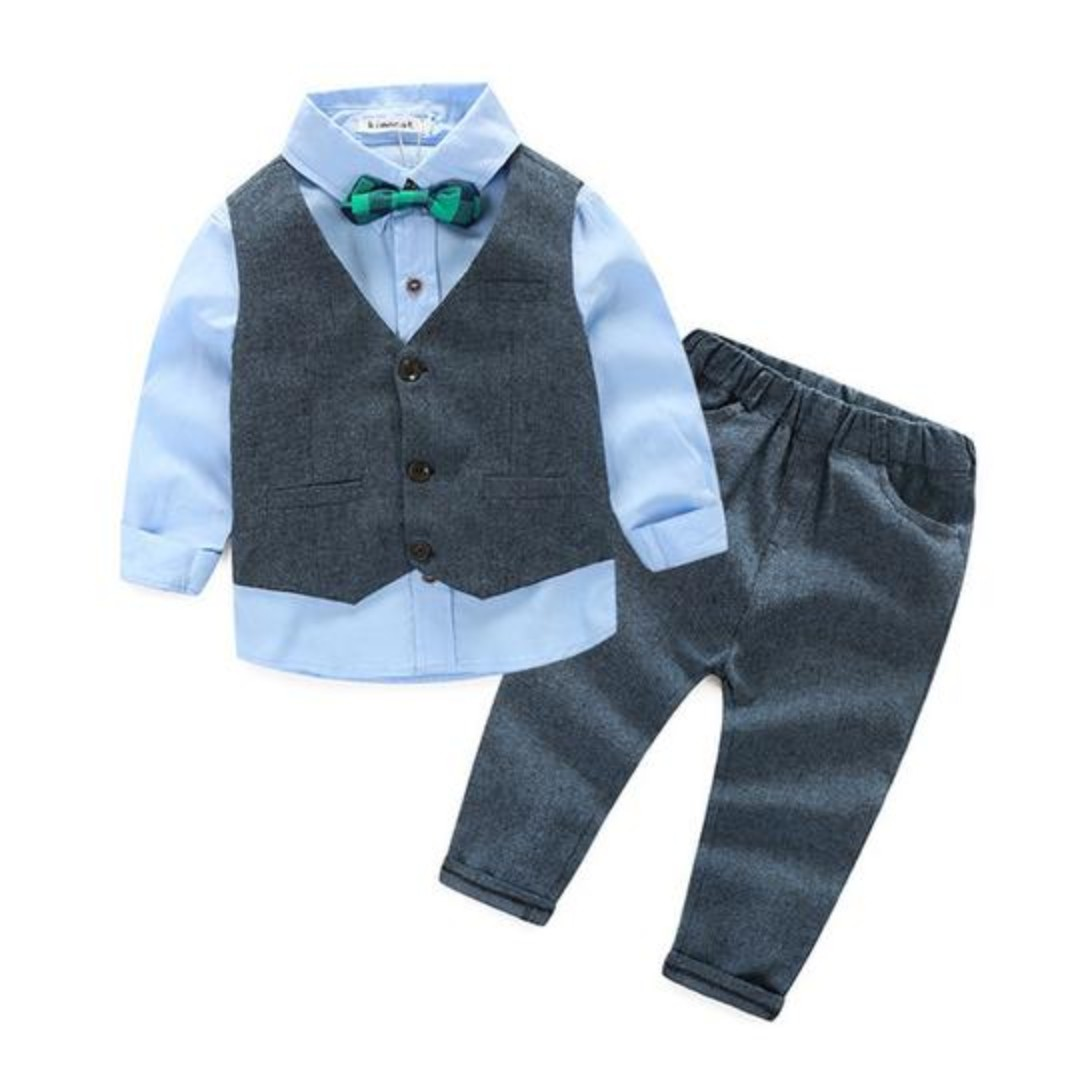 Light Blue And Dark Gray Boy Suits For Ring Bearers Flower Boys Or