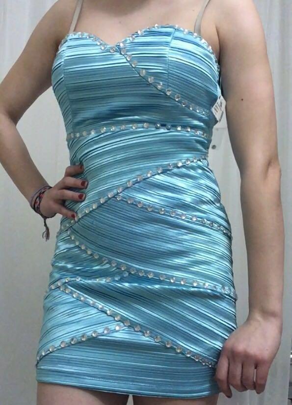 Light Blue Rhinestone Shiny Cocktail Dress Strapless