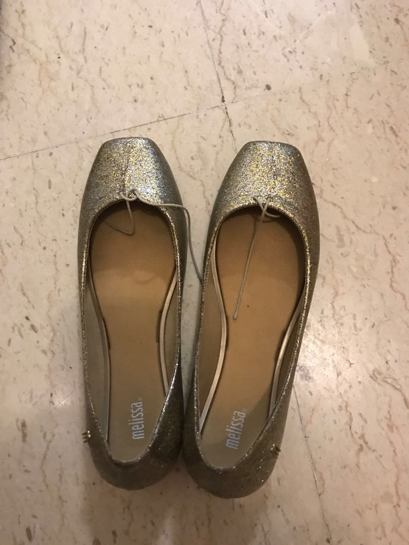 quality reliable quality quite nice melissa shiny gold shoes