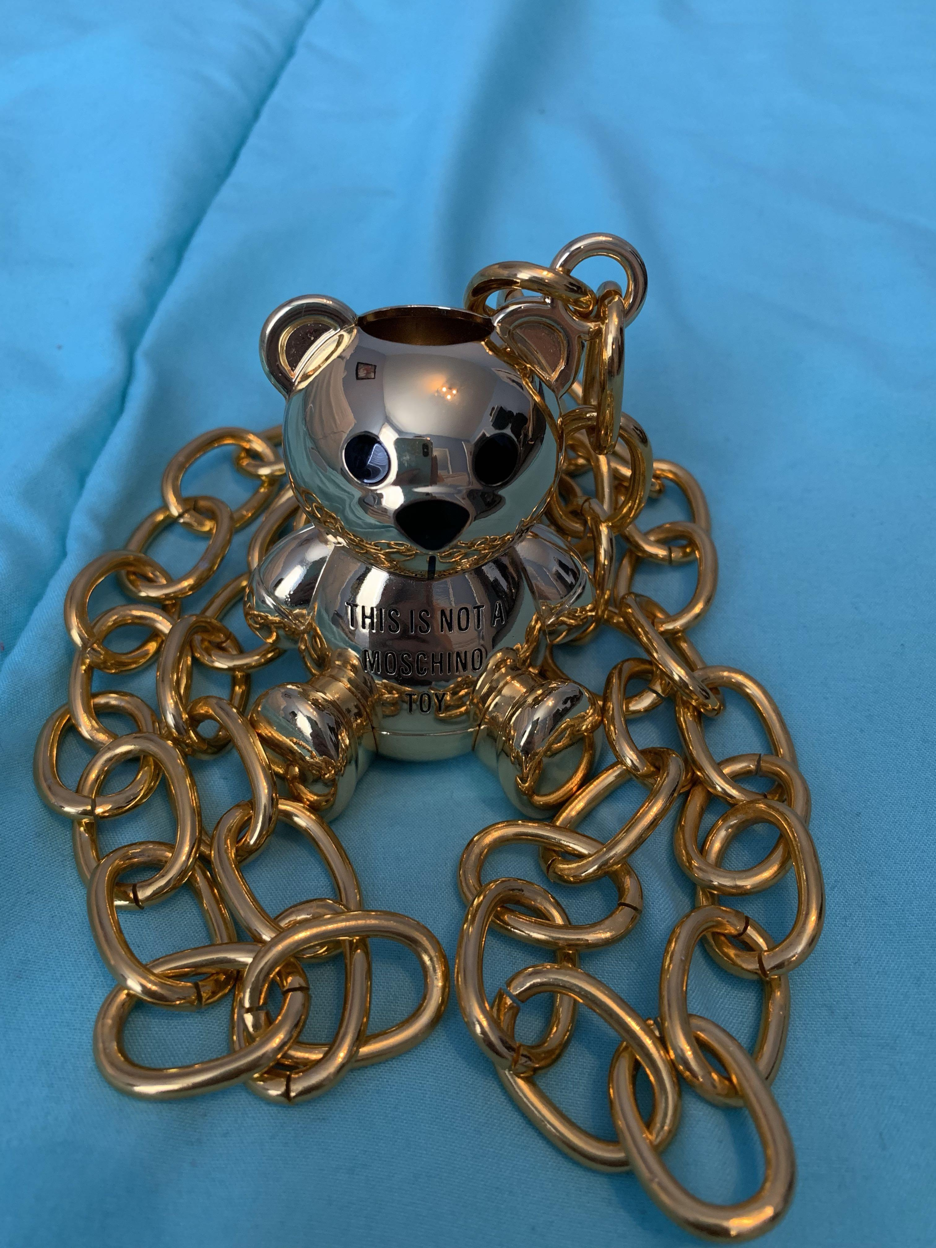 "Moschino X Sephora lipstick necklace bear ""This is not a Moschino toy"""