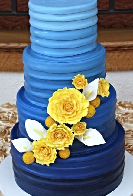 Navy Blue And Gold Cakes Wedding Galery