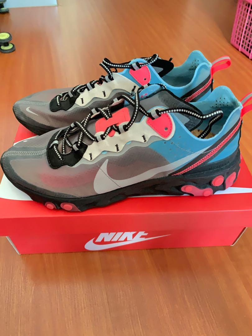 Hola Pedir prestado cheque  Nike react element 87 Blue Chill/Solar Red US11/UK10, Men's Fashion,  Footwear, Sneakers on Carousell