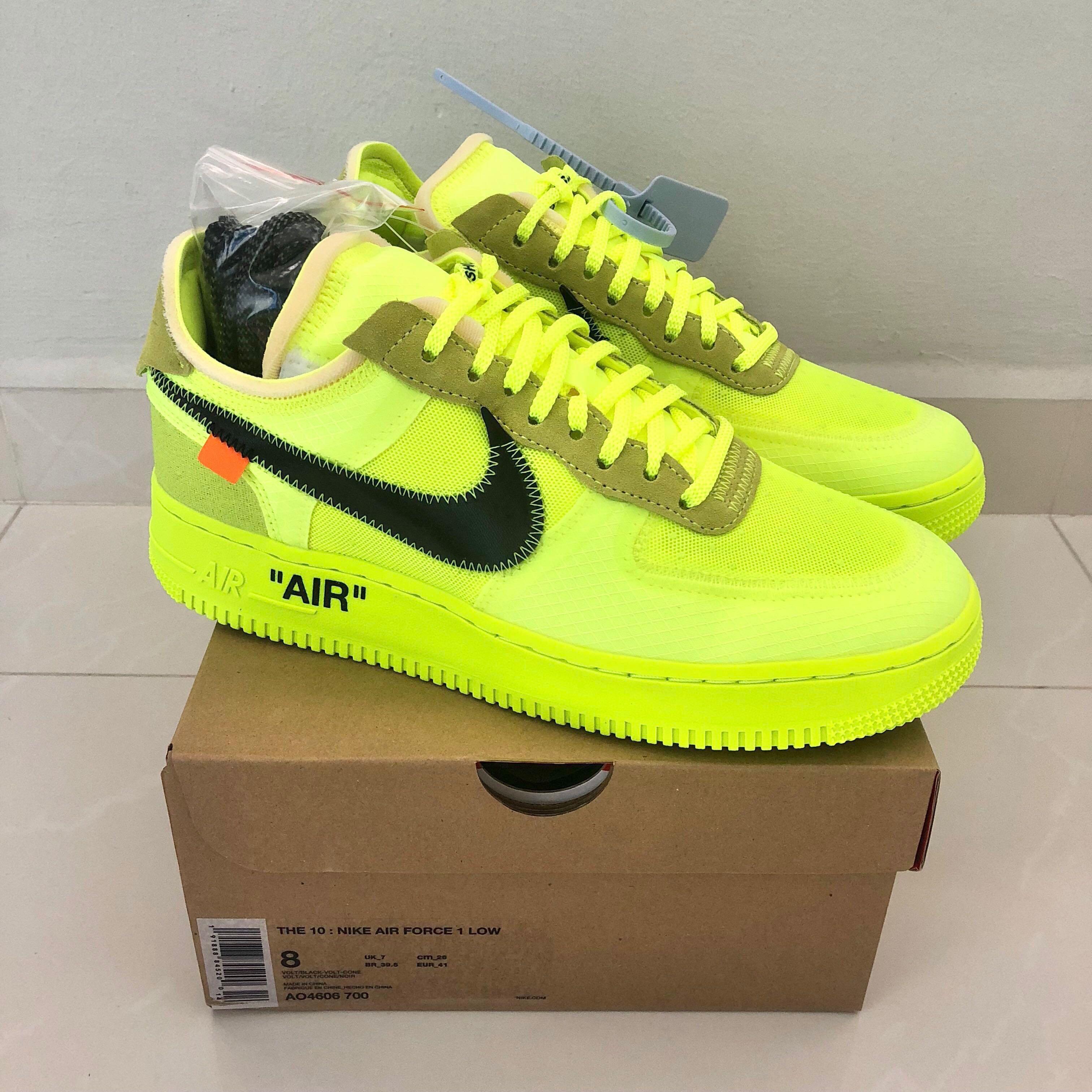 cheaper 2004d af53a Off White x Nike Air Force 1  Volt , Men s Fashion, Footwear ...