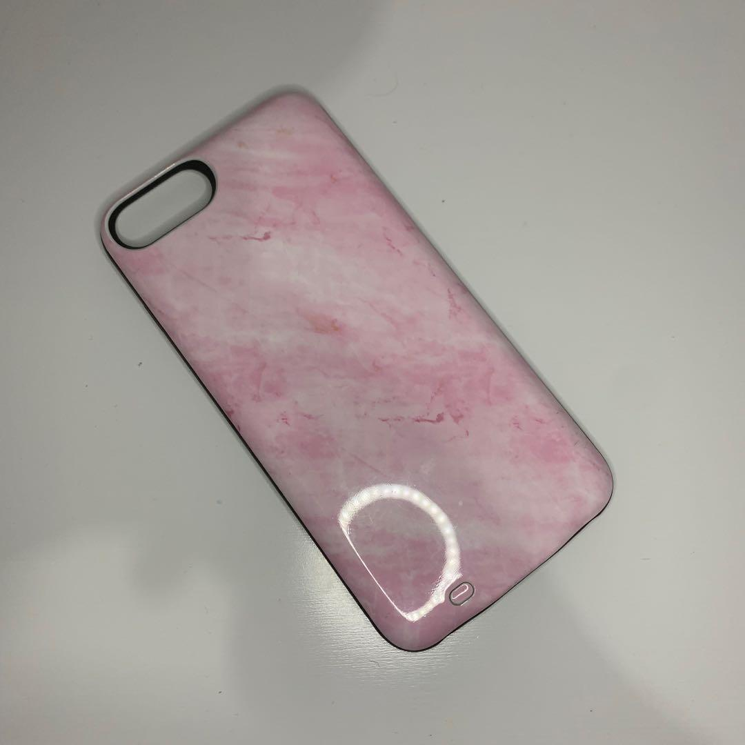 portable charger phone case (pink marble)