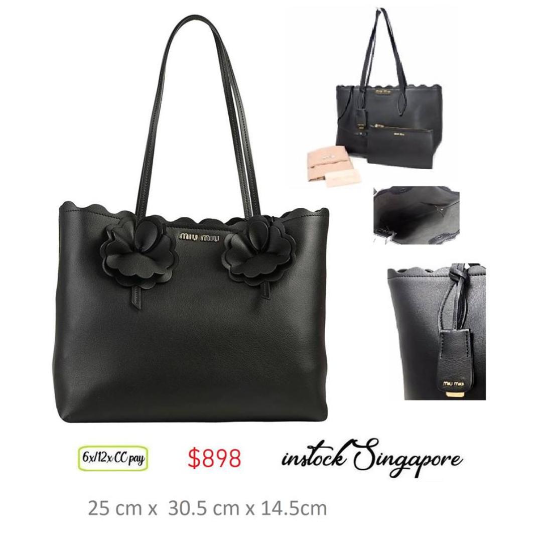 e8f70358c6a READY STOCK authentic new Miu Miu Tote bag grain calf leather black ...