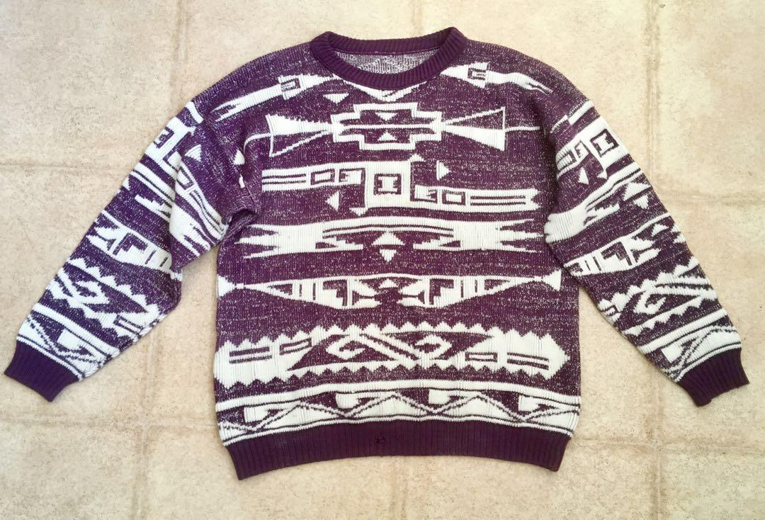 Retro Vintage Style Purple and Silver Sparkly Geometric Sweater