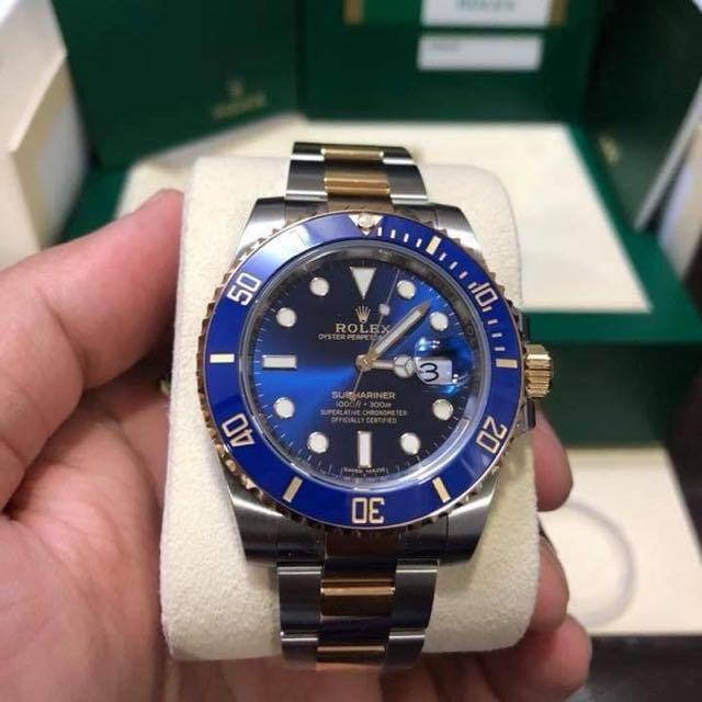 Rolex Submariner Date Half Gold Blue Dial Luxury Watches On Carousell
